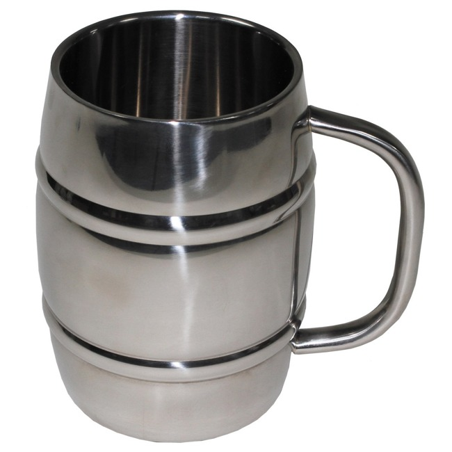"Mug, ""Barrel"", double-walled, stainless steel, 1 liter"