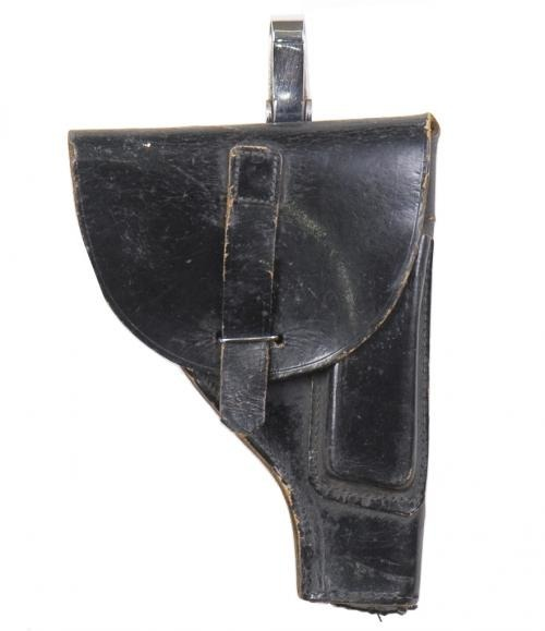 ITALIAN ARMY BLACK LEATHER HOLSTER USED