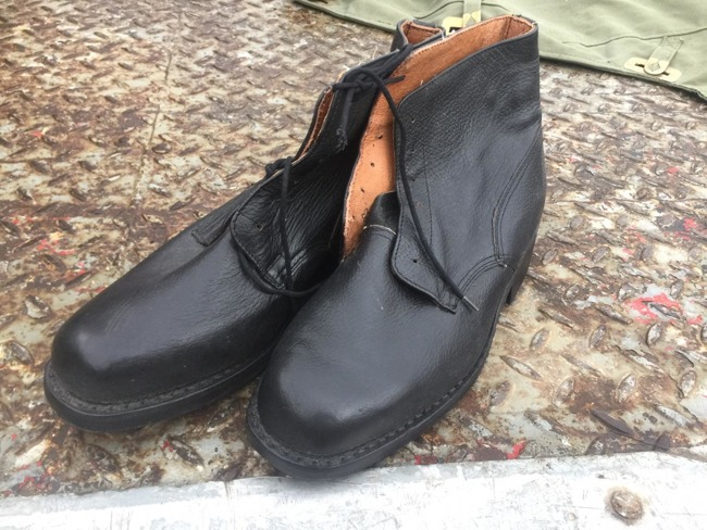 Black leather boots, 39-40-41, Romanian Army Surplus