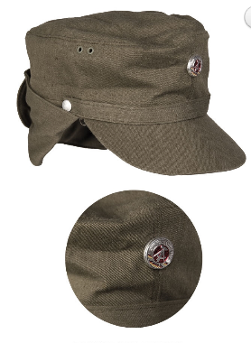 EAST GERMAN OD MOUNTAIN TROOP CAP W. COCKADE USED