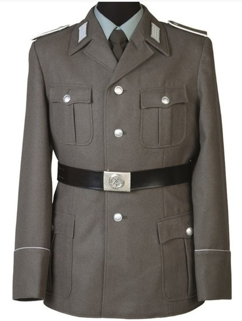 East German Army Uniform Jacket with Badges, Grey, Like New