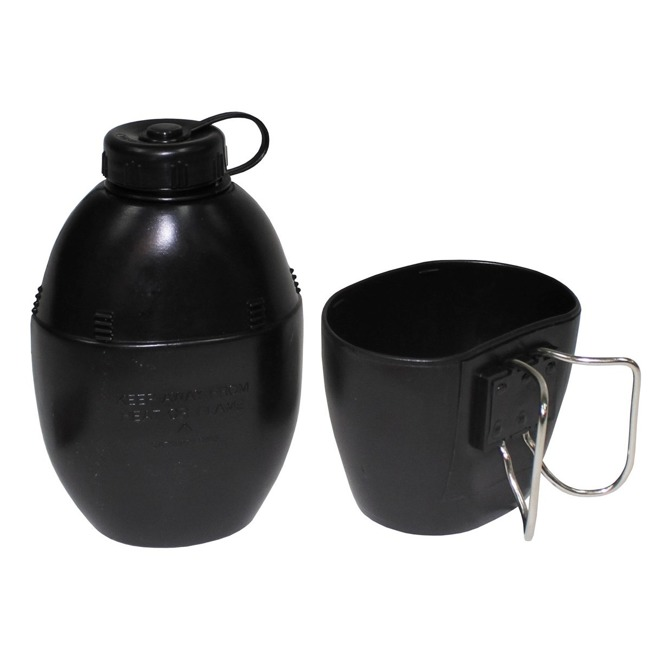 GB canteen, black, with cup