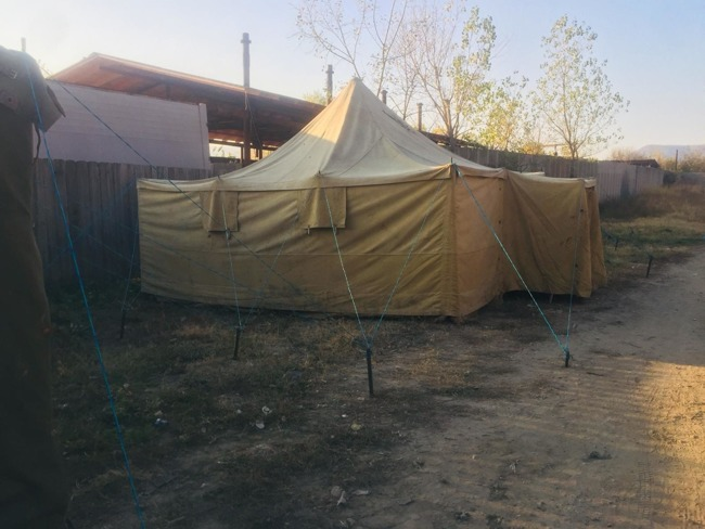 Military Tent with Wooden Structure,  4.90x4.90m, Romanian Army Surplus