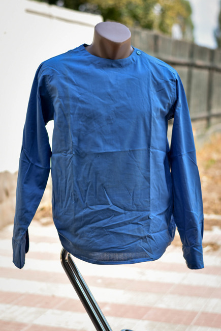 Romanian Blue Long Sleeve Slip Shirt like new
