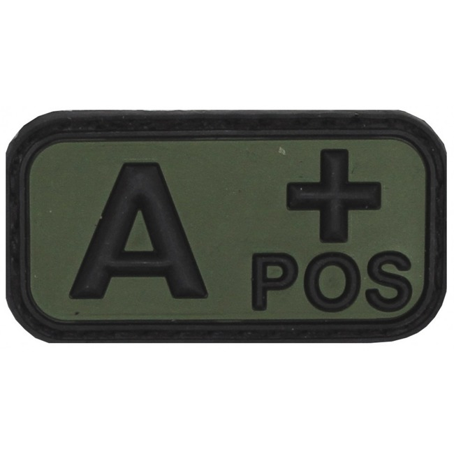 "Velcro Patch, black/OD green, blood group ""A POS"", 3 D,  5 x 2,5 cm"