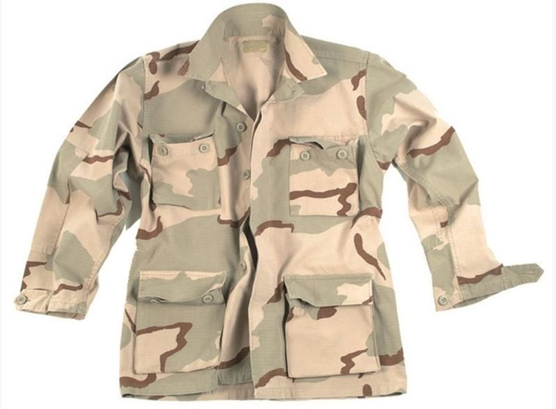 285d60efee Amerikai BDU stílusú, előmosott Ripstop szövetű Field kabát, Sivatagi ...