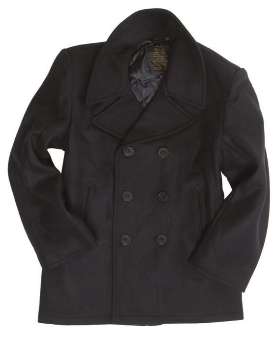 a44a91070f Amerikai tengerész kabát, gyapjúból, fekete gombokkal, Sötétkék ...