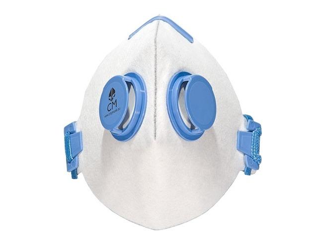 Masca anti fum CityMask biało-blue activated carbon